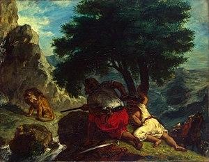 Эжен Делакруа «Охота на львов в Марокко». 1854 г. Холст, масло. 74 × 92 см Государственный Эрмитаж, Санкт-Петербург