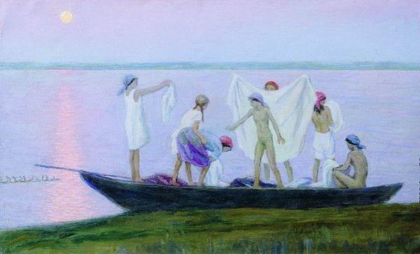 Н.М. ЧЕРНЫШЁВ  «Купание на озере»  1958 г.  Брянский областной художественный музейно-выставочный центр