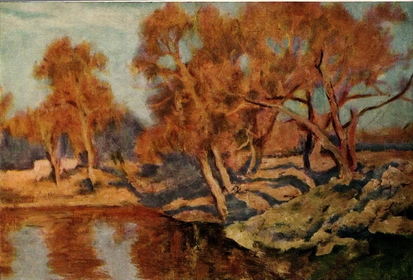 Николай Александрович Соколов. Рыжие деревья. Xолст, картон, масло. 1962 г.