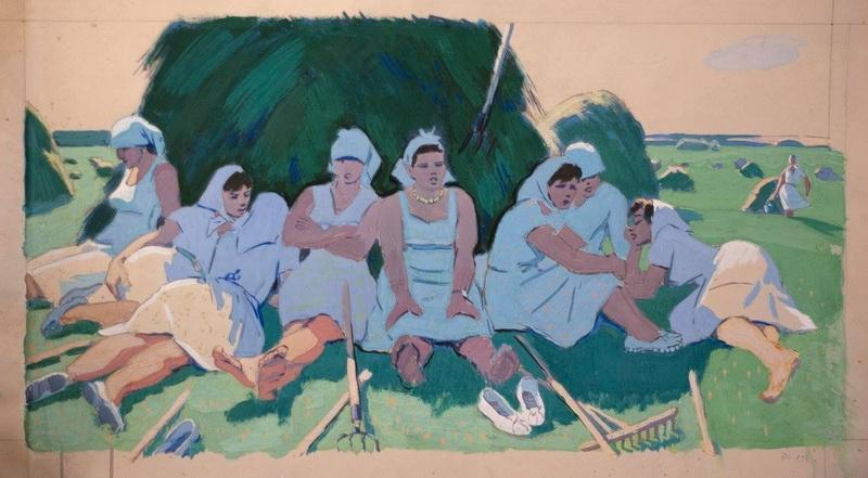 Борис Яковлевич Аверьянов «Отдых» Гуашь. 38х70 см 1964 г.