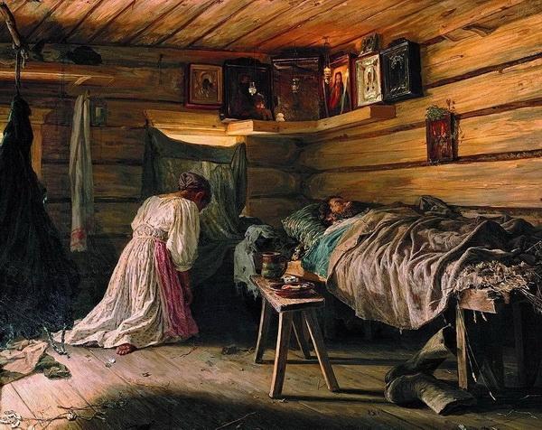 «Больной муж» 1881 г. Холст, масло. 70,8 x 88,6 см. Государственная Третьяковская галерея