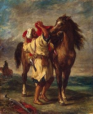 Эжен Делакруа «Марокканец, седлающий коня». 1855 г. Холст, масло. 56 × 47 см Государственный Эрмитаж, Санкт-Петербург
