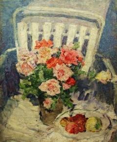 В.Г. Гремитских «Розы на стуле» Холст, масло. 71х58 см  1972 год