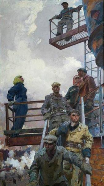 А.П. Суровцев «Высотники»  Холст, масло. 280х155см  1959 г.