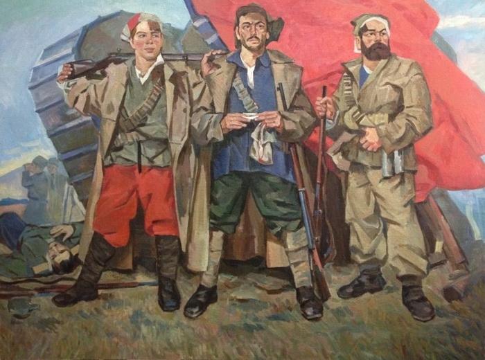 Ф.Г. Кричевский  «Победители Врангеля»  Холст, масло.  149х199.5 см 1934 г.
