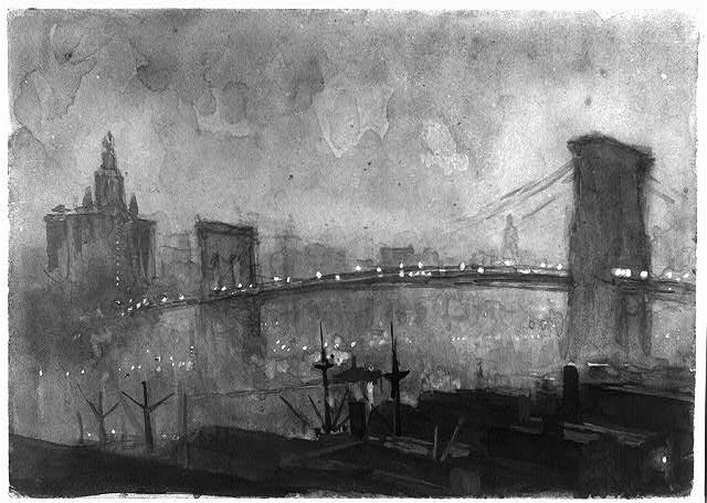Джозеф Пеннелл «Бруклинский мост» Из коллекции Библиотеки Конгресса США.