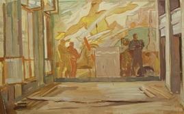 К.А. Тутеволь 'Эскиз панно для павильона 'Космос' 44х65; бумага, темпера; 1958 год