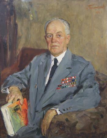 Портрет генерал-майора в отставке И.И. Биричева. 1966 г. холст, масло.90х69 см