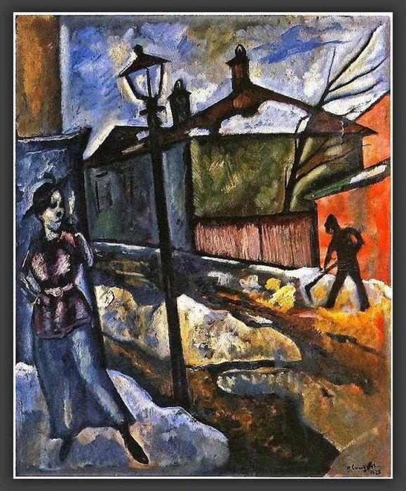 Н. Синезубов «Улица. Весна.» 1920 г. Картон, масло. 61х50,5 см. Государственный Русский музей