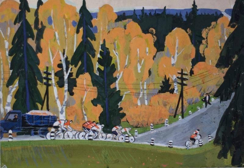 Борис Яковлевич Аверьянов «Велогонки» Гуашь. 36х53 см 1968 г.