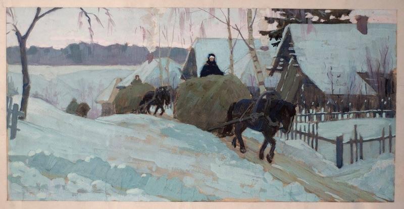 Борис Яковлевич Аверьянов «Везут сено» Гуашь. 30х59 см 1964 г.