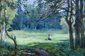 Николай Александрович Соколов. В лесу. 1960 г. Картон, масло. 23х34 см
