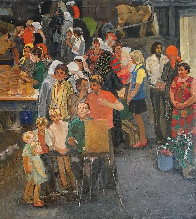 А.А. Жабский. Колхозный рынок. 1983 г. Холст, масло. 80х70 см Белгородский государственный художественный музей.
