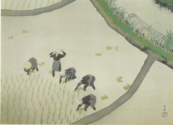 Гиокудо Каваи   «Девушки-крестьянки» свиток 63х87 1945 г.