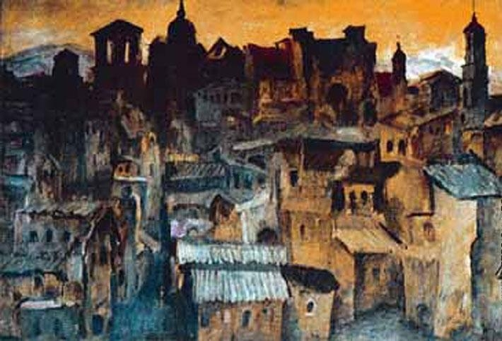Максимов К.М. «Толедо вечером»  Бумага, акварель. 70х60 см  1970 г.