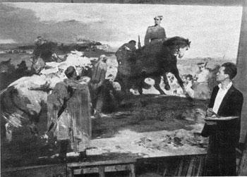 Евсей Моисеенко работает над картиной