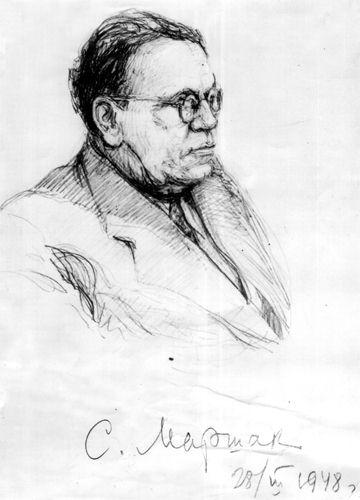 Натурный портрет С.Я. Маршака работы Мая Митурича