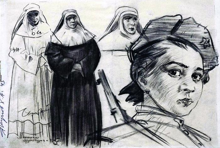 Харис Якупов. Фронтовые зарисовки. Монашки и связистка. 1945 г. бумага, карандаш, архив семьи художника.