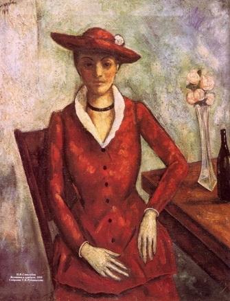 Н. Синезубов «Женщина в красном» 1919 г. Холст, масло Собрание Т.В. Рубинштейн