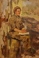 В.Г. Гремитских 'Этюд'  картон, масло; 37х28; 1952 год
