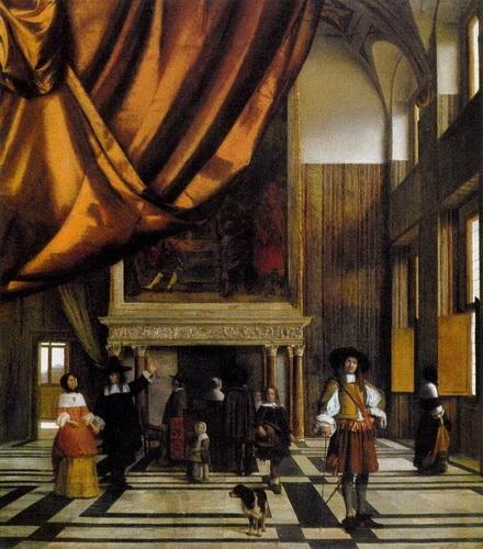 Питер де Хоох «Зал совета бургомистров в ратуше Амстердама» Холст, масло.