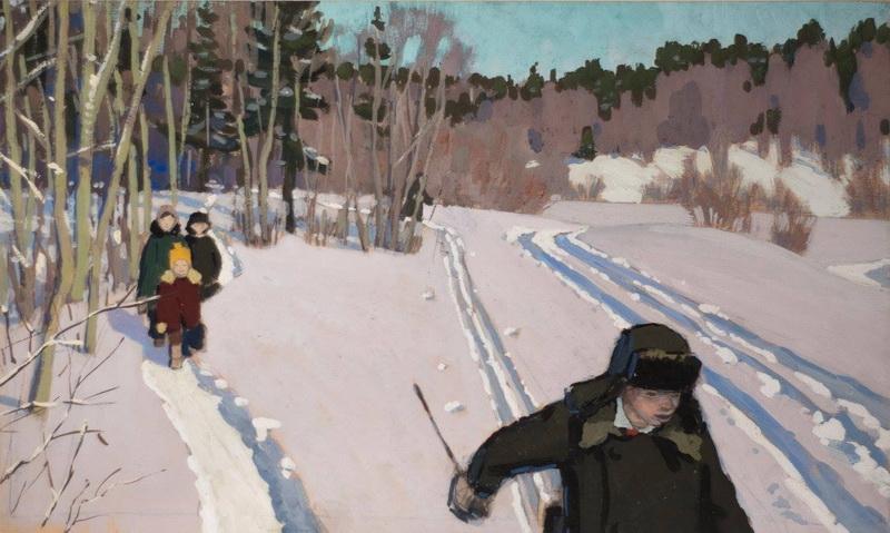 Борис Яковлевич Аверьянов «Зимой» Гуашь. 40х68 см 1969 г.