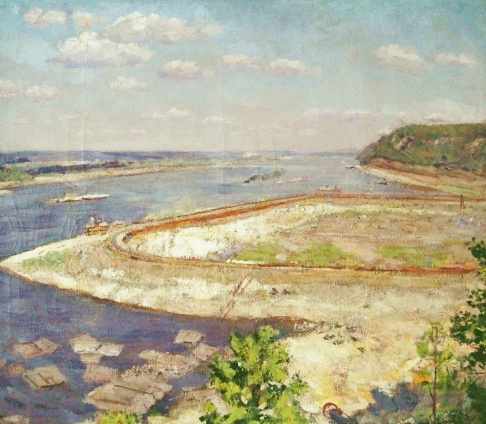 В.Г. Гремитских «Панорама строительства Куйбышевской ГЭС» холст, масло; 86х98,5; 1952 год