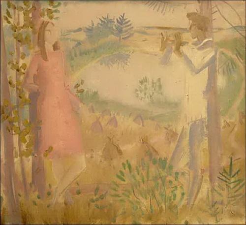 Б.И. Шаманов Эскиз к картине «Свирель», 1970-е годы, холст, масло, 52 х 57 см., частное собрание.