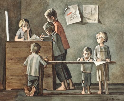 А.А. Жабский. Рисуют дети войны. Акварель. 1988 г.