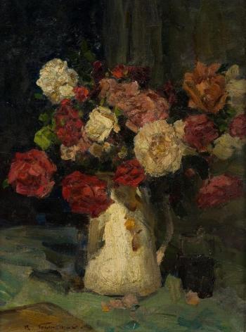 Розы. Ночь.  1960 г.  холст на картоне, масло. 58x44 см