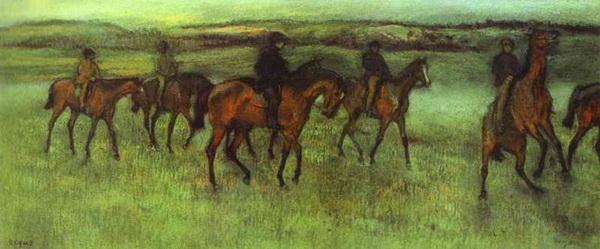 «Проездка скаковых лошадей» Бумага, пастель. 36×86 см около 1880 г. ГМИИ им. А.С. Пушкина