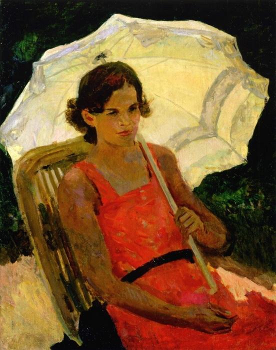 С.В. Герасимов. Девушка с зонтиком. Холст, масло. 90х72 см. 1930-е годы