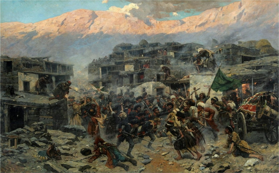 Ф. Рубо «Штурм аула Салты 14 сентября 1847 года» 1886 г.