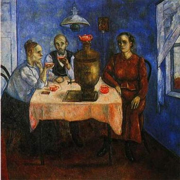 Н. Синезубов «Семья за столом. Чаепитие.» 1918-1919 гг. Нижегородский художественный музей