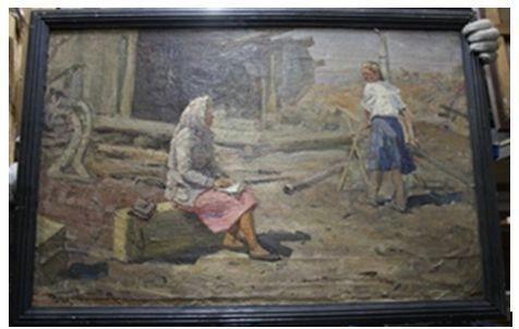 Учётчица. Куйбышевская ГЭС. 1952 г.  Холст на картоне, масло. 56х86 см