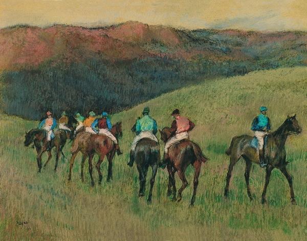 «Chevaux de course dans un paysage» бумага, пастель. 47.9 x 62.9 см 1894 г. Музей Тиссена-Борнемисы, Мадрид.