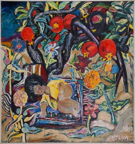 Тогрул Нариманбеков «Натюрморт с девочкой»  Холст, масло. 1968 г. Государственный музей Востока
