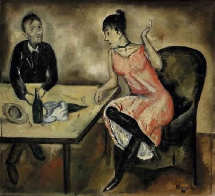 Н. Синезубов «Двое за столом» 1920 г. Холст, масло
