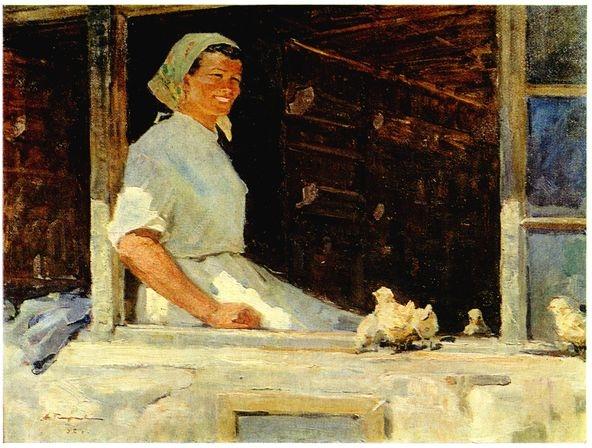 А.И. Плотнов «Птичница» Холст, масло