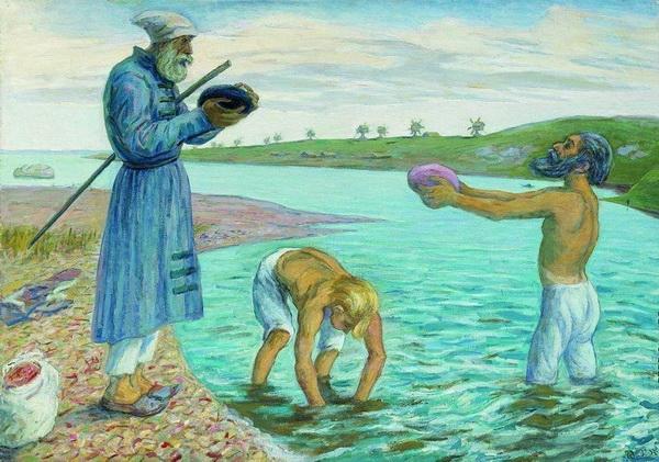 Н.М. ЧЕРНЫШЁВ  «Дионисий с сыновьями на Бородавском озере»  Частное собрание