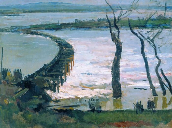 С.В. Герасимов. Плотина. Холст, масло. 82х105 . 1929 г.