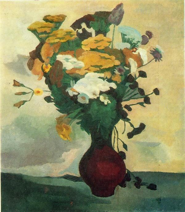 Татьяна Иванова «Цветы на белом фоне» 1985 г. Холст, масло. 90х80 см