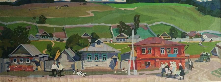 Рудов Евгений Иванович «Марийская деревня» 190х70см, холст, масло. 1961 г.