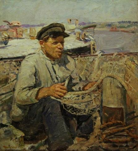 В.Г. Гремитских «Рыбак» Холст на оргалите, масло; 70,5х60; 1960 год