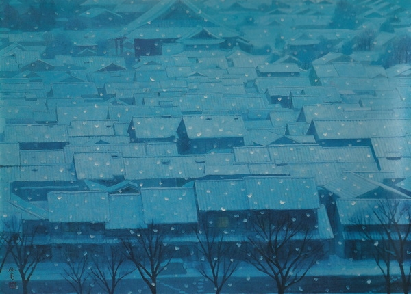 Кайи Хигасияма  «Предновогодний вечер» картина 72,7х99,7 1968 г.