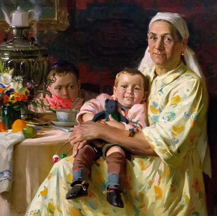 Харис Якупов «Портрет матери», 1955 год, Холст, масло. Государственный музей изобразительных искусств Республики Татарстан.