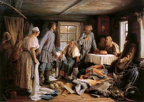 «Семейный раздел» 1876 г. Холст, масло. 106 х 148 см. Государственная Третьяковская галерея