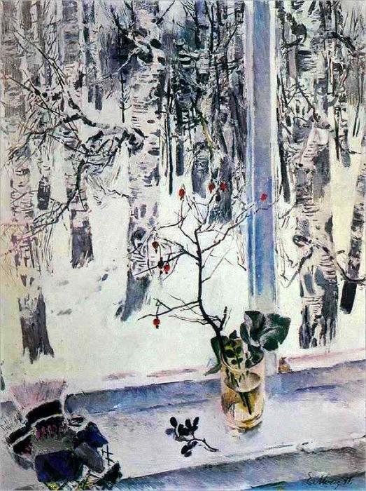 Е. Моисеенко «Зима. Берёзы.»