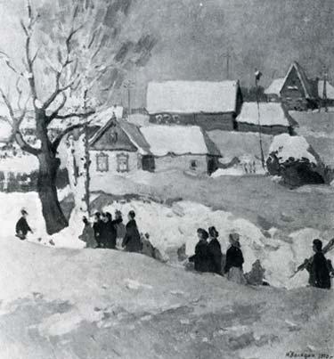 М.Ф. Володин  «Март» Оргалит, масло. 120х112 см 1970 г.
