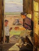 Э.Д. Ишмаметов 'Целинники'  картон, масло; 40х30; 1959 год